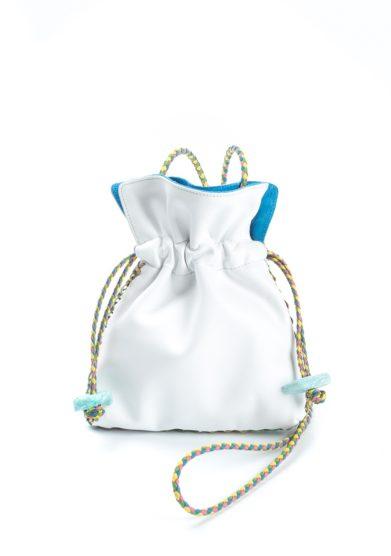 Borsa piccola tracolla pelle bianca e azzurra iacobella
