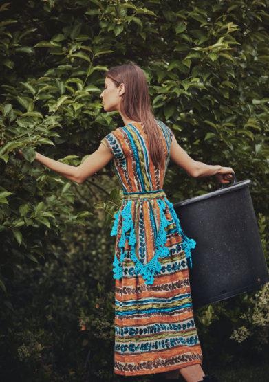 Madame pauline vintage abito fantasia con dettaglio uncinetto turchese