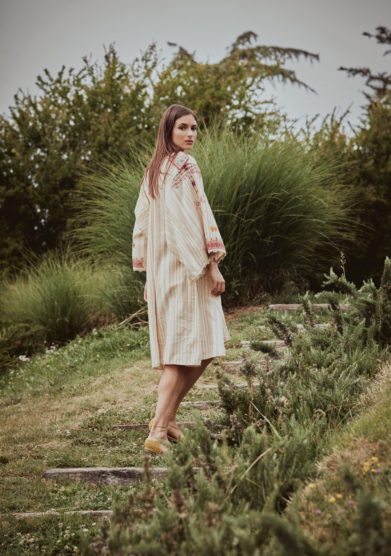 Vestito cotone traliccio ricamato madame pauline vintage