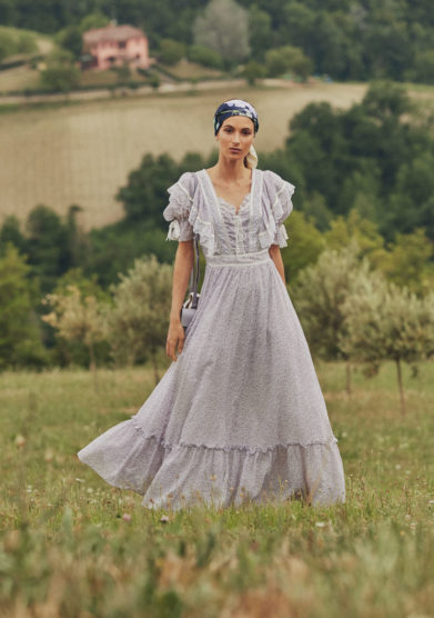 Madame pauline vintage abito country stampato