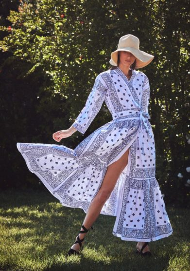 Madame pauline vintage abito kimono fantasia bandana bianco