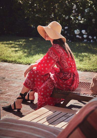 Vestito bandana kimono rosso madame pauline vintage
