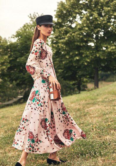 Madame pauline vintage abito stampa ortensie