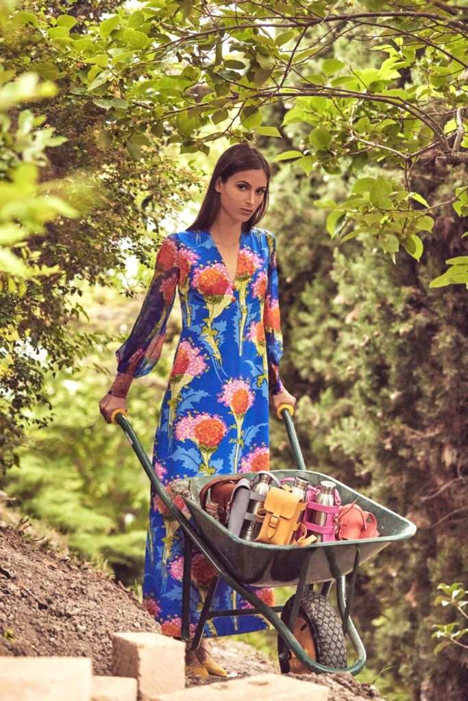 Madame pauline vintage abito stampa floreale seta