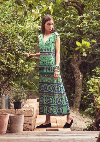 Abito verde ricami arabesque madame pauline vintage