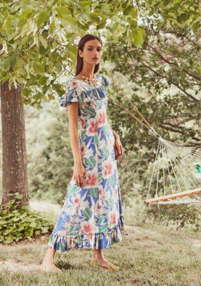 Madame pauline vintage abito stampa fiori hibiscus