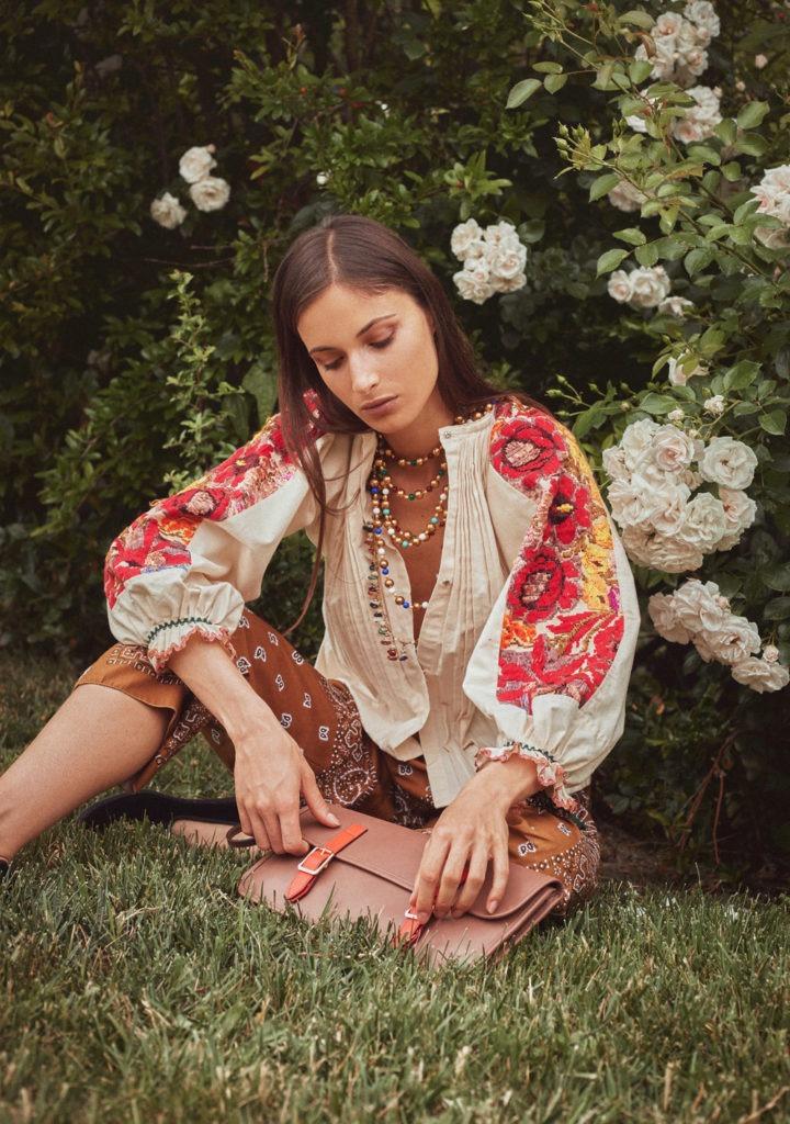 Madame Pauline blusa vintage manica ampia ricami floreali madame pauline vintage
