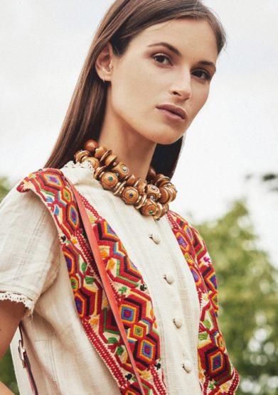 Madame pauline vintage collana carlo zini legno dettagli turchesi