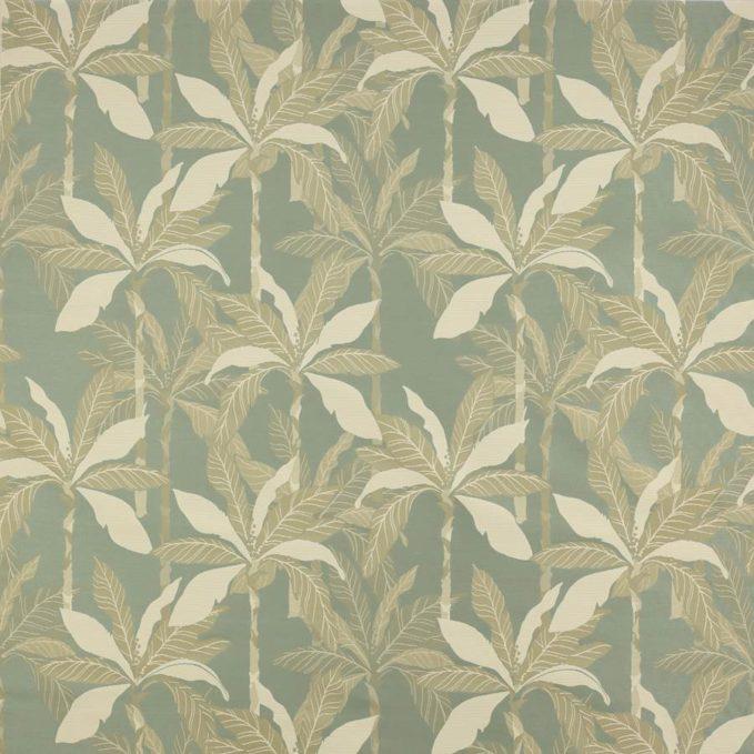 Monica gasperini paravento celadon tessuto fantasia palme verde salvia