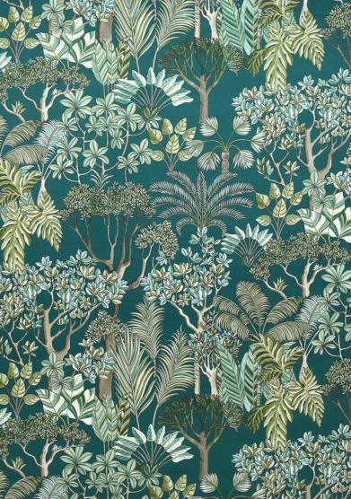 Monica gasperini paravento rivestito tessuto jardin tropical