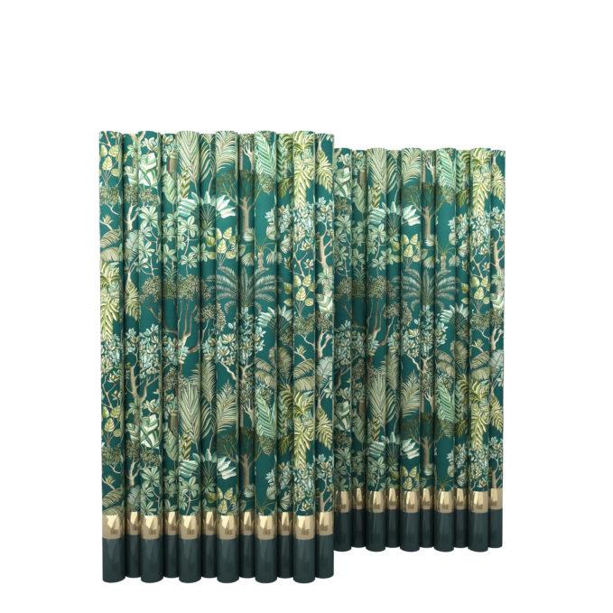 Paravento monica gasperini legno rivestito tessuto giardino tropicale