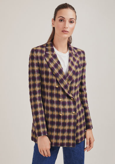 Nasco Unico blazer garza leggera quadri bottoni dorati viola ocra
