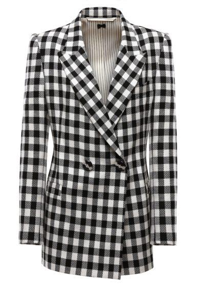 blazer a quadri black white lana nasco unico