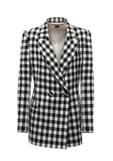 blazer a quadri black white lana nasco unico