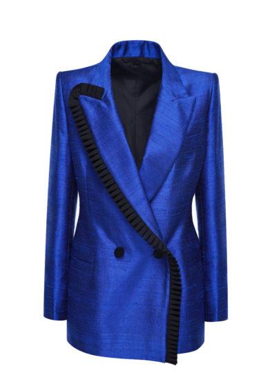 Nasco unico blazer doppio petto shantung di seta bluette
