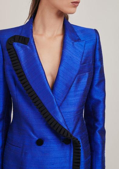 Nasco Unico blazer shantung seta blu dettagli neri