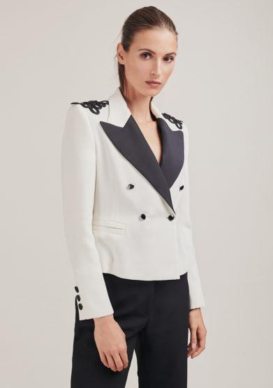 Nasco unico giacca bianca doppio petto bottoni neri lavorazione spalle