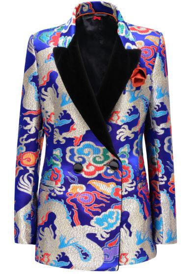 Giacca seta jacquard blu fantasia china nasco unico