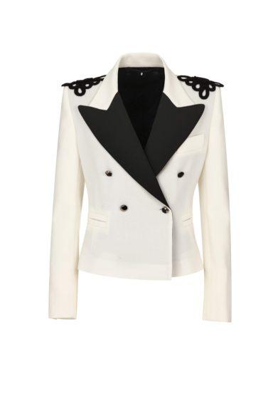 Nasco unico mini tuxedo crepe di seta bianco e nero