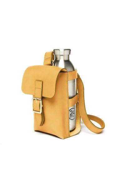Bottle bag senape officina del poggio tracolla con borraccia in pelle