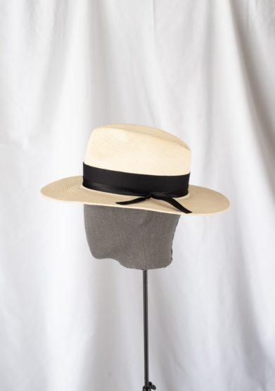 Anperfect cappello fedora paglia avorio fascia nera estelle