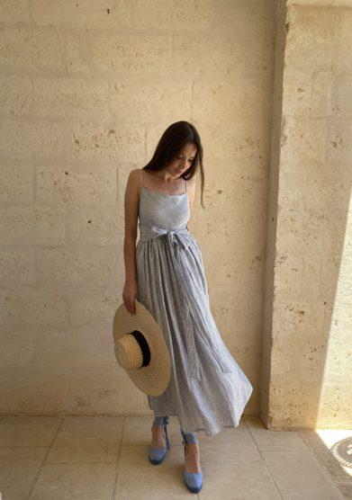 Bottega ignazia abito lino righe bianche blu senza maniche