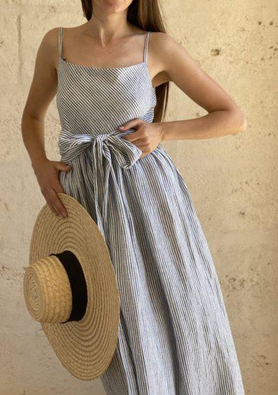 Bottega egnazia abito senza maniche lino a righe bianco e blu