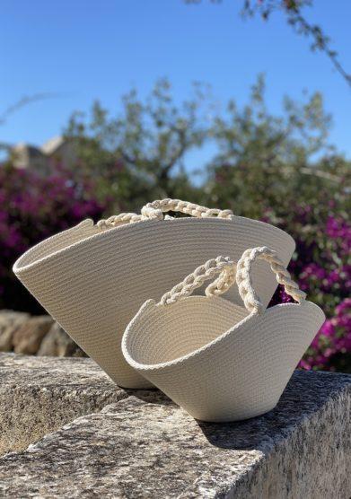 bottega egnazia borsa cesto cotone intrecciato bianco