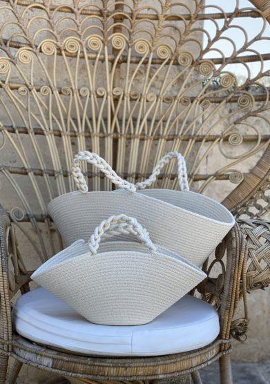 Borsa cesta cotone intrecciato bianco bottega egnazia