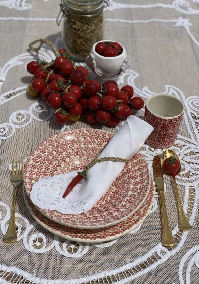 Bottega egnazia piatti e bicchiere ceramica set quattro pezzi