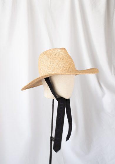 Cappello fedora Estelle tesa larga paglia con nastri