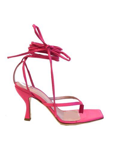 Sandalo gia couture kandice rosa allacciato alla caviglia