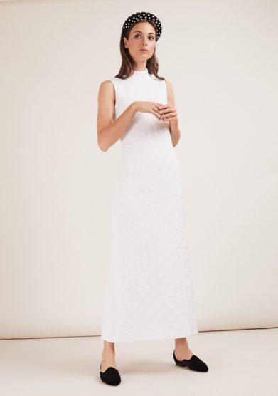 abito Tilla jacquard collo alto bianco gioia bini
