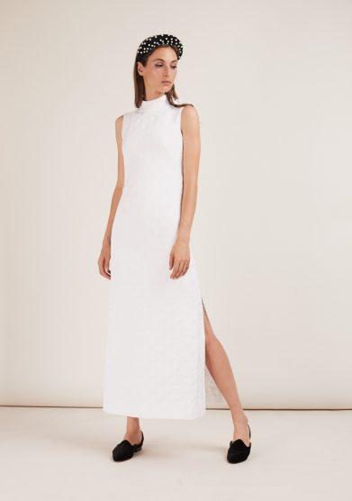 Gioia bini abito Tilla jacquard collo alto bianco spacco