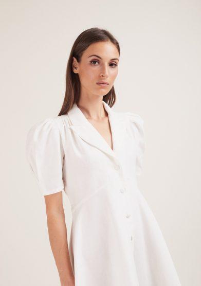 abito fiona bianco popeline maniche a palloncino gioia bini