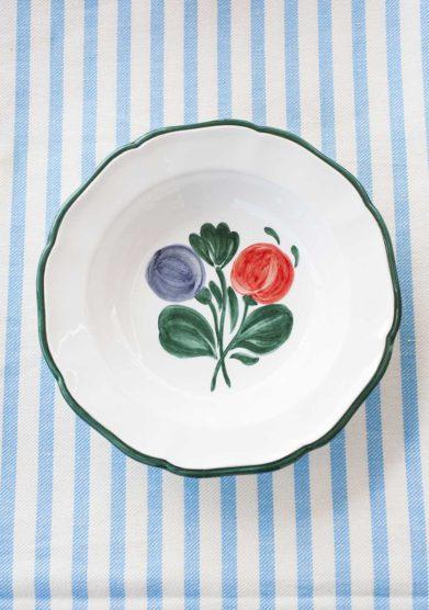 Il borro ceramiche san marco piatto fondo decorazione centrale bordo verde