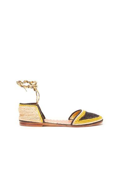 Laalouj sandalo naima rafia crochet giallo nero naturale