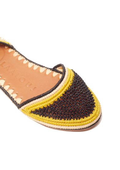 Sandalo naima in rafia tricolore giallo nero beige laalouj