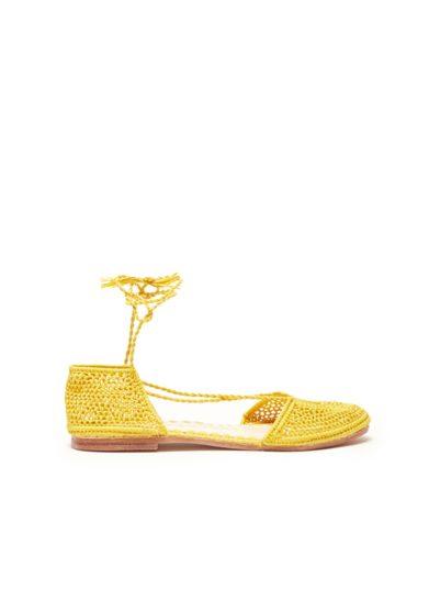 Laalouj sandalo nina rafia crochet giallo