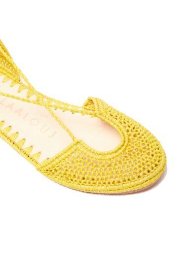 Sandalo nina laalouj rafia gialla crochet