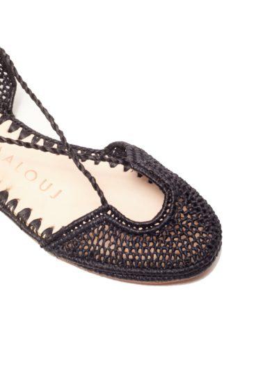Sandalo naima laalouj rafia crochet nero