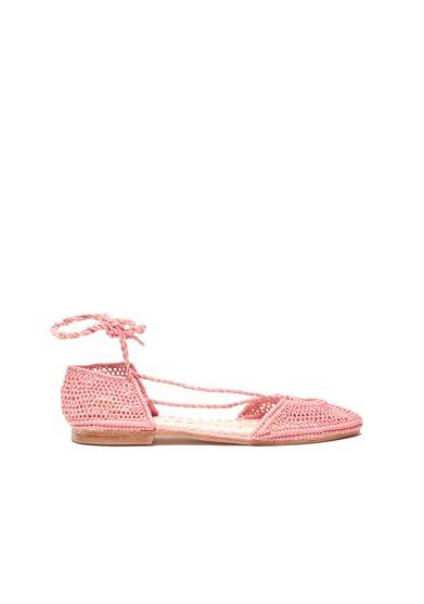 Laalouj sandalo nina rafia crochet rosa