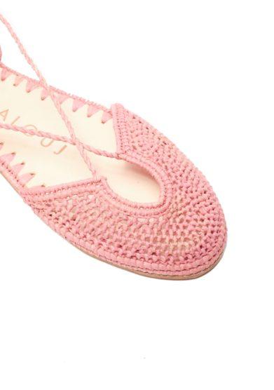 Sandalo nina rafia intrecciata rosa laalouj