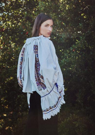 Madame pauline vintage blusa maniche ampie ricamate