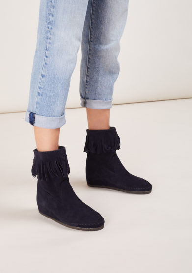sand peter pan blu boot with fringes socksi milano