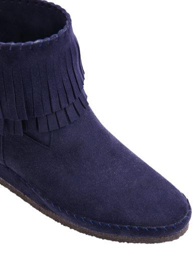 stivaletto trilly blu in pelle scamosciata con frange socksi milano