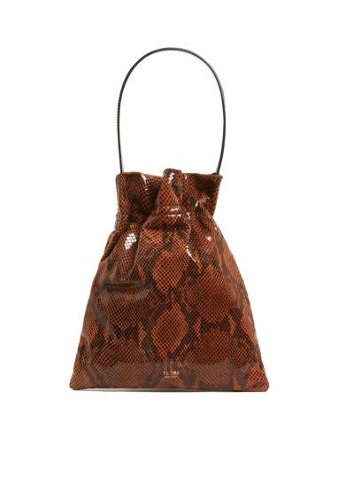 Tl180 borsa in pelle a mano fazzoletto large stampa pitone marrone