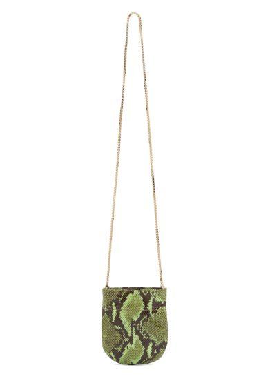 borsa mini fazzoletto tondo tl180 stampa pitone verde