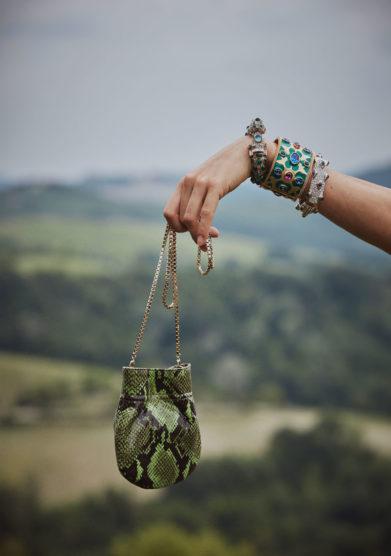 borsa mini fazzoletto tondo stampa pitone verde tl180