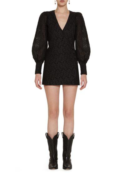 Amotea mini abito Clotilde sangallo nero front